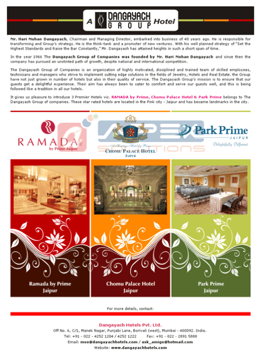 E-mailer for Dangayach Group of Hotels